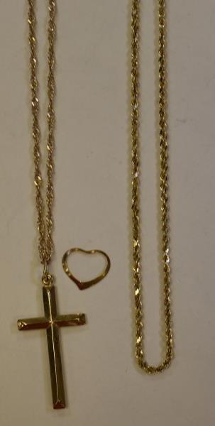 14K Yellow Cross necklace
