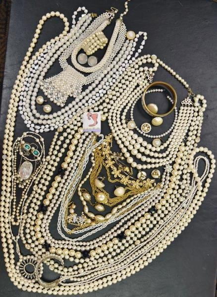 Group of White Pearl Costume Jewelry