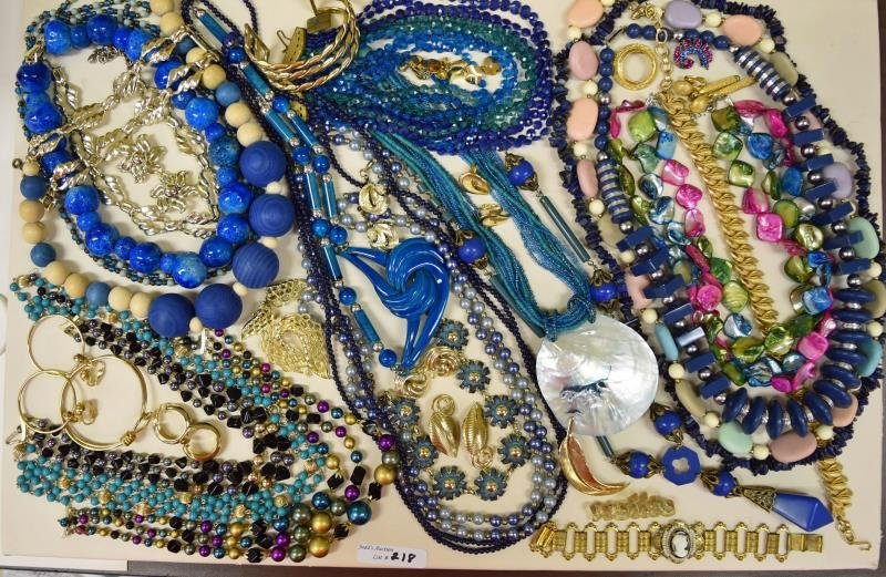 Group of Blue and Goldtone Costume Jewelry