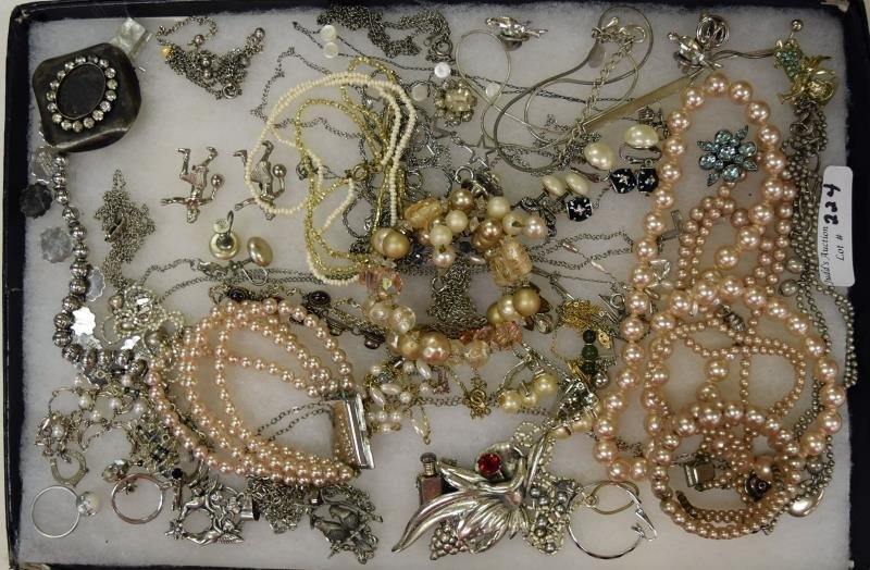 Group of Silvertone and Faux Pearl Costume Jewelry