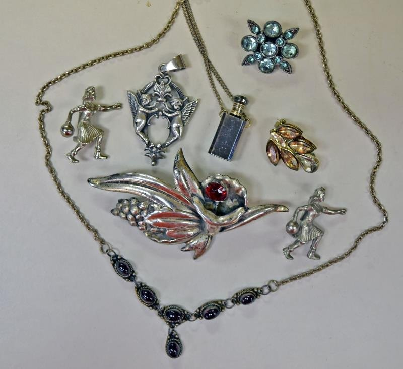Group of Silvertone and Faux Pearl Costume Jewelry - 2