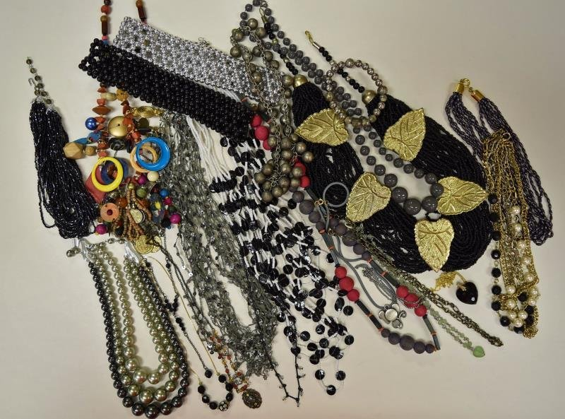 Group of Black Costume Jewelry