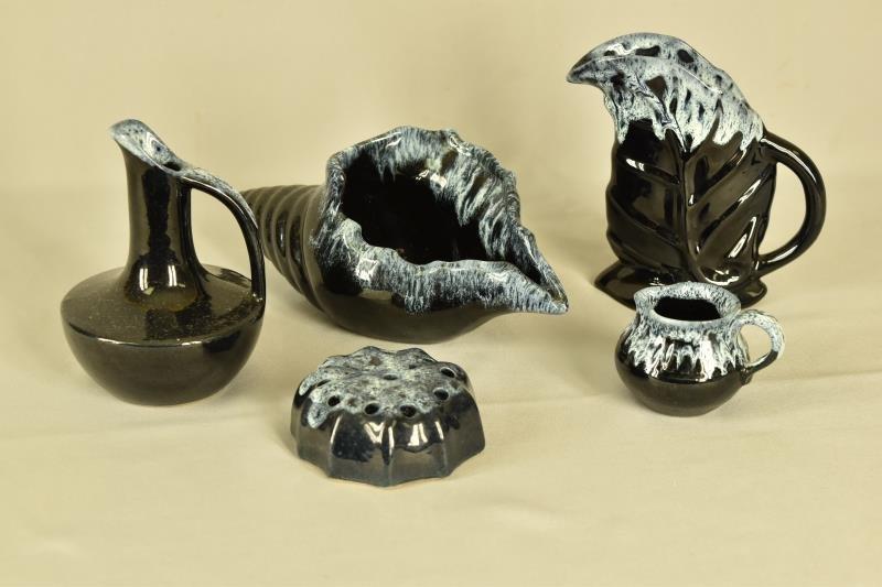 Group of Anna Van Briggle Jet Black Drip Pottery
