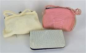 Three Vintage Beaded Handbags Consisitng of a cream