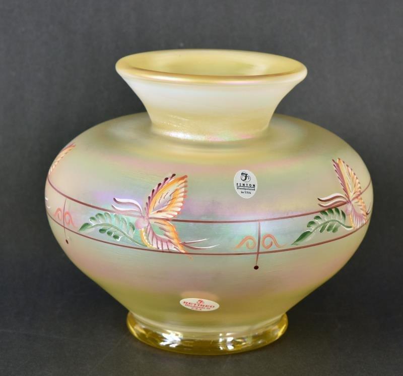 Fenton Aurene Millennium Collection Vase Hand painted