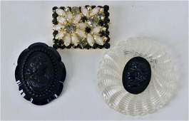 Group of Vintage Pins Consisting of two acrylic black