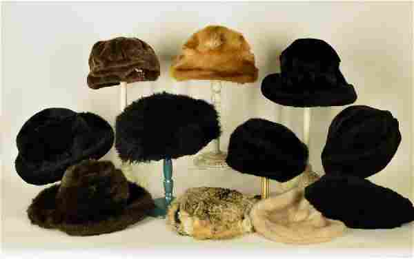 Collection Of Seven Faux Fur Hats