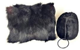Vintage Black Fur Muffs