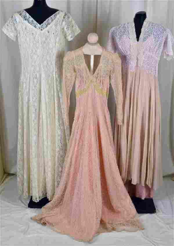 """Three 30's & 40""""s Lace Evening Gowns"""