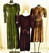 Three 30's & 40's Velvet Gown And Dresses