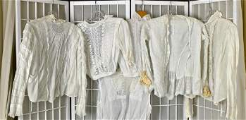Collection Of Five Victorian White Cotton Shirts