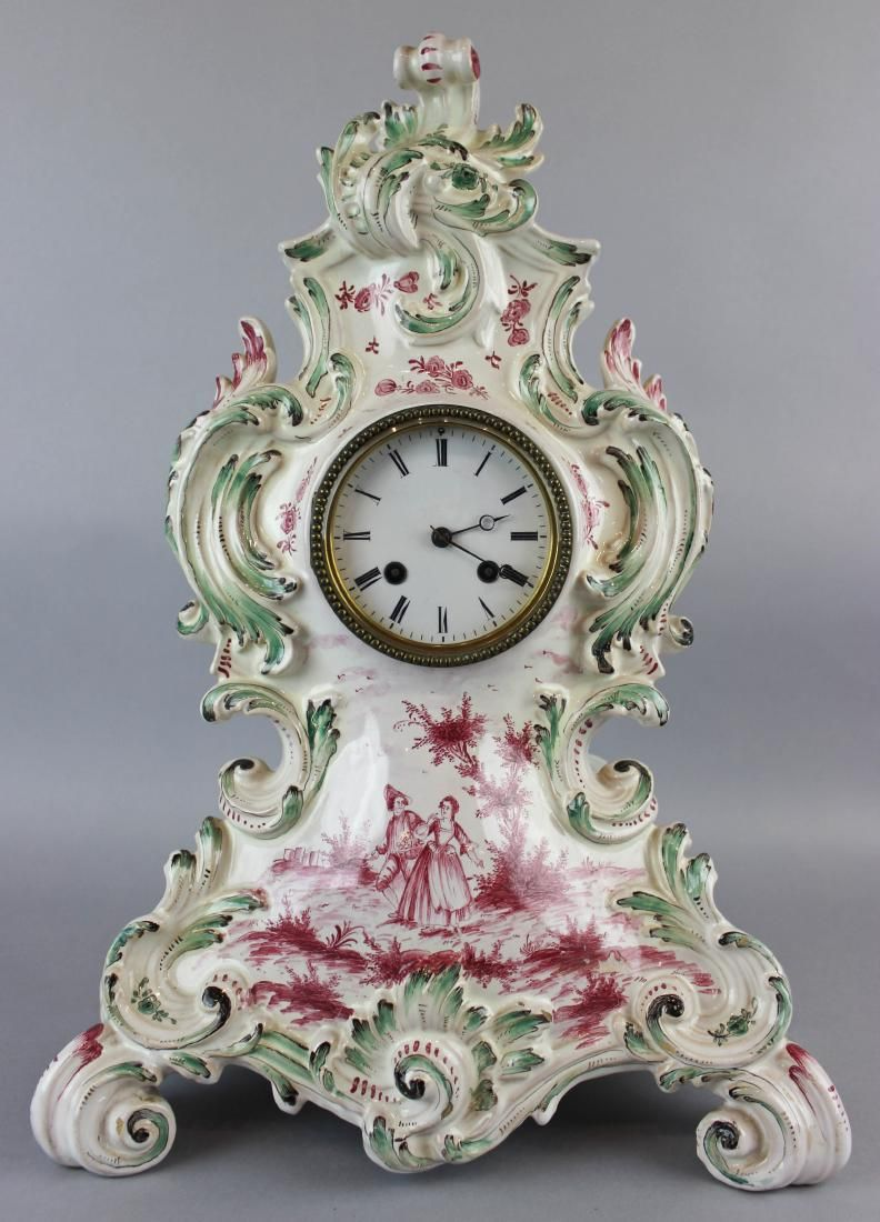 FRENCH FAIENCE MANTEL CLOCK, ROBLIN, PARIS, MID-19TH