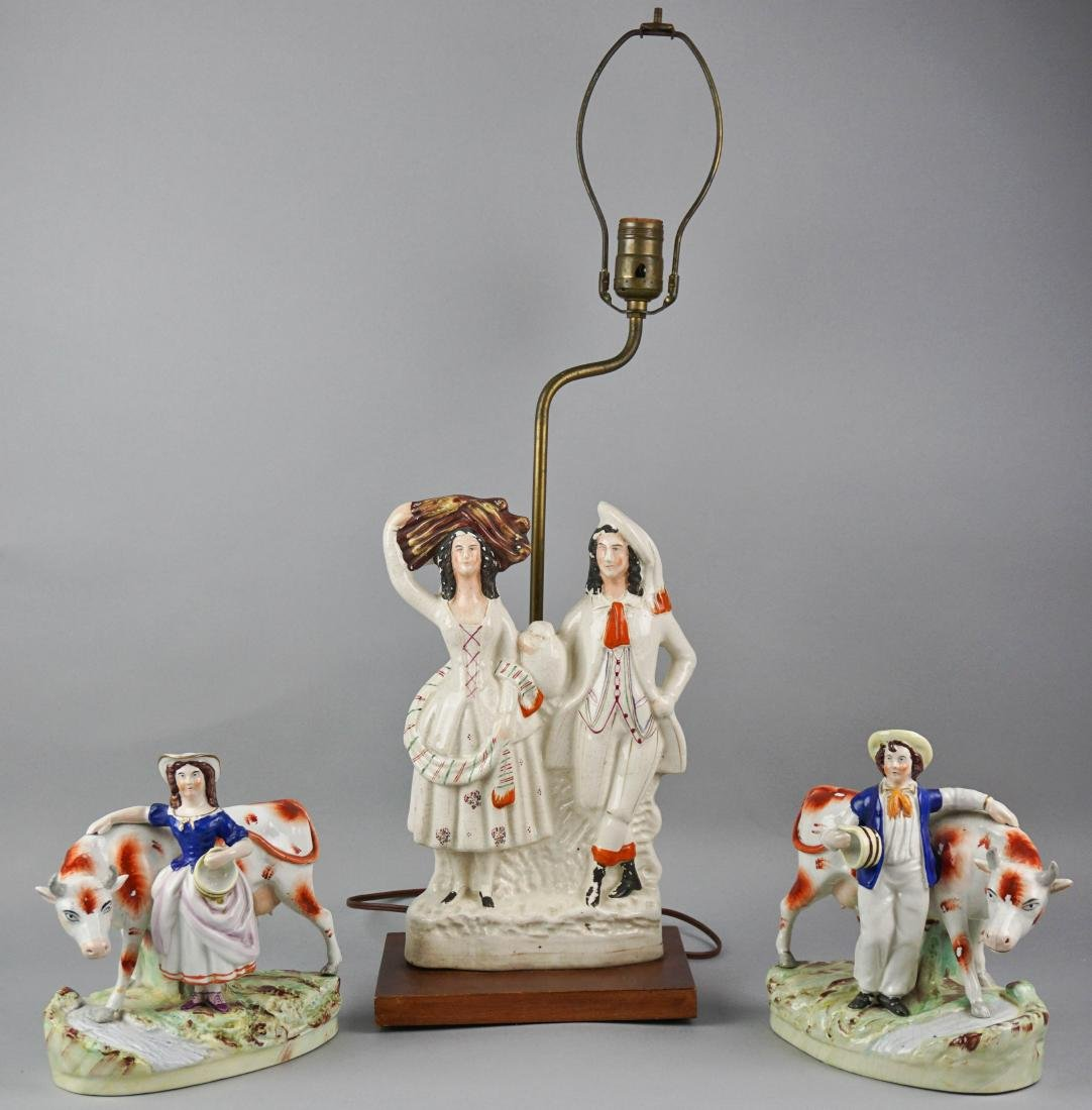 STAFFORDSHIRE MODEL OF A COURTING COUPLE, NOW MOUNTED
