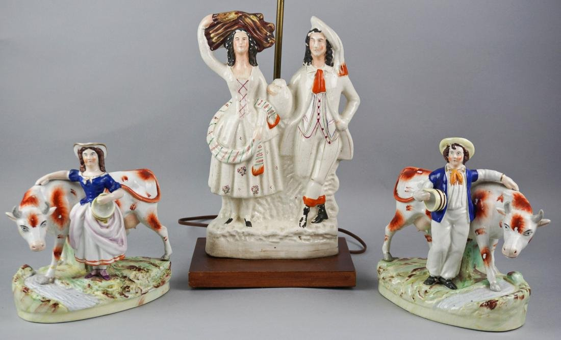 STAFFORDSHIRE MODEL OF A COURTING COUPLE, NOW MOUNTED - 2