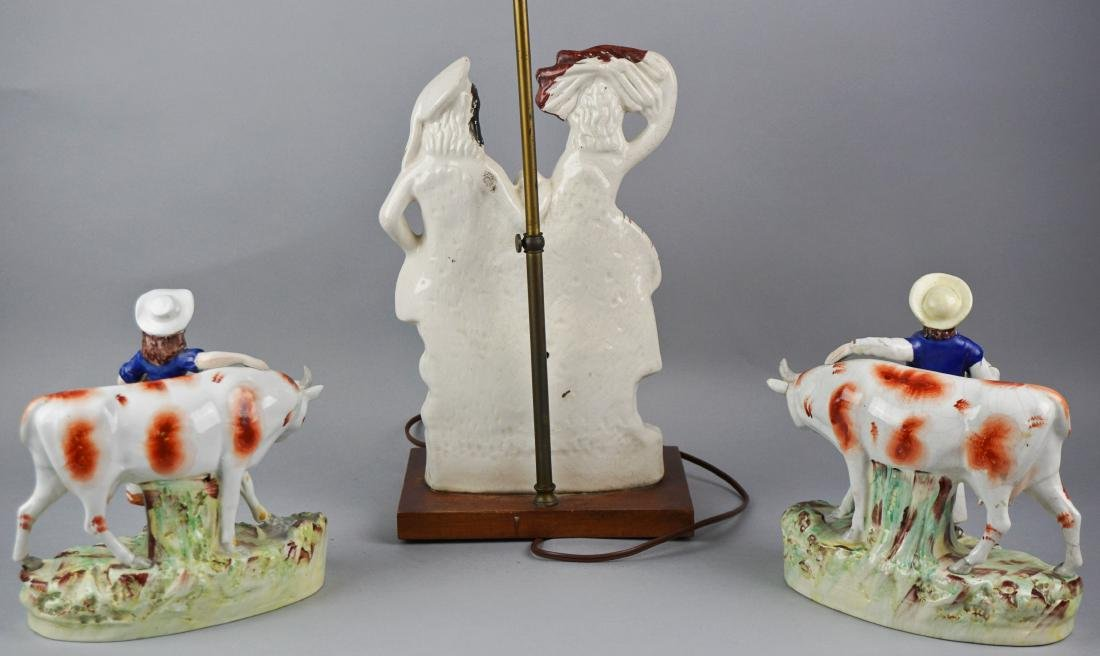 STAFFORDSHIRE MODEL OF A COURTING COUPLE, NOW MOUNTED - 3