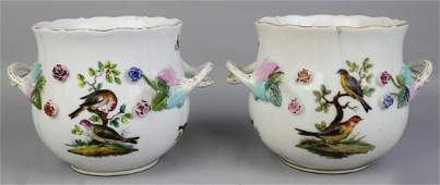PAIR OF GERMAN TWO-HANDLED CACHEPOTS, WITH UNDERGLAZE