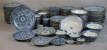CHINESE BLUE AND WHITE ASSEMBLED DINNER SERVICE, QING