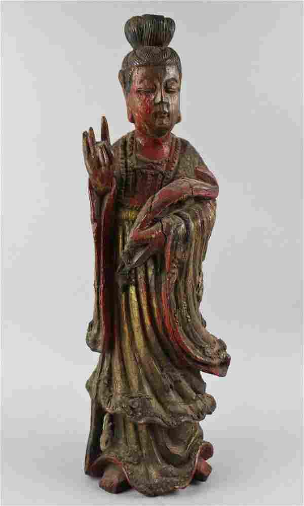 WOOD FIGURE OF GUANYIN, MING DYNASTY