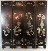 CHINESE CARVED POLYCHROME LACQUER FOUR-PANEL SCREEN