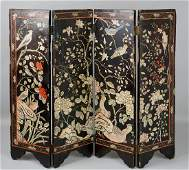 CHINESE SMALL CARVED LACQUER FOUR-PANEL SCREEN, QING