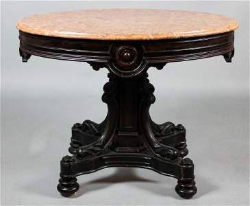 VICTORIAN ROSEWOOD PEACH MARBLE TOP CENTER TABLE