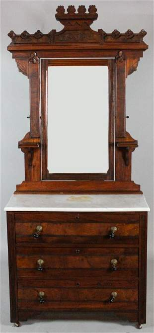 AMERICAN EASTLAKE WALNUT CHEST WITH MIRROR AND WHITE