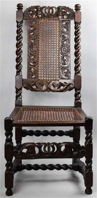 WILLIAM AND MARY STYLE TURNED WALNUT CANED SIDE CHAIR
