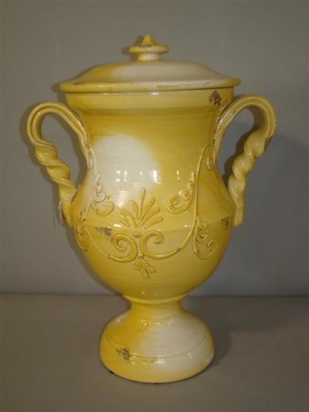 3: YELLOW GLAZED POTTERY URN WITH LID