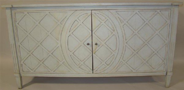 15: GUSTAVIAN STYLE PALE BLUE PAINTED CABINET