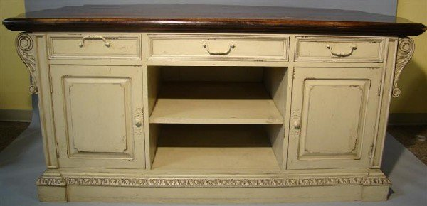 18: NEOCLASSICAL STYLE CREAM PAINTED KITCHEN ISLAND