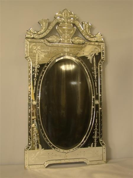 21: VENETIAN STYLE ACID ETCHED GLASS MIRROR