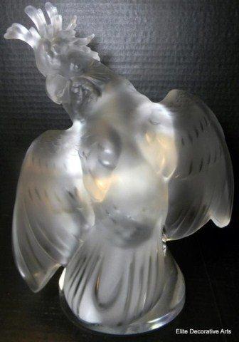 "5: LALIQUE FRANCE CRYSTAL ""ARA"" COCKATOO BIRD FIGUR"