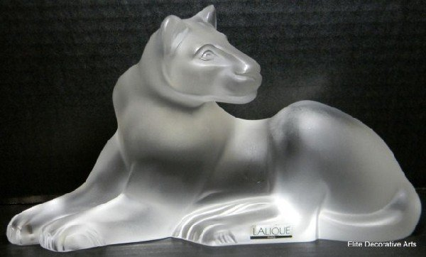 """20: LALIQUE FRANCE CRYSTAL """"SIMBA"""" LIONESS FIGURE"""
