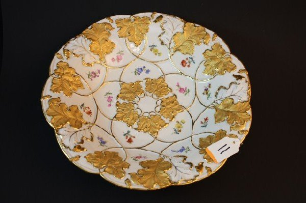 11: MEISSEN GERMANY HAND PAINTED FLORAL CHARGER