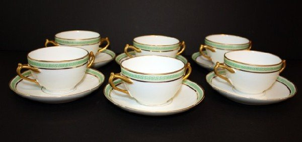 12: ANTIQUE LIMOGES FRANCE PORCELAIN 12pc BULLION SET