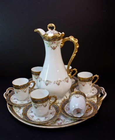 13: ANTIQUE LIMOGES FRANCE 14pc CHOCOLATE SET