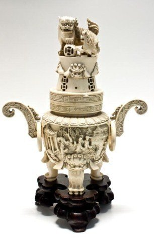 107: CHINESE IVORY HAND CARVED FIGURAL INCENSE BURNER