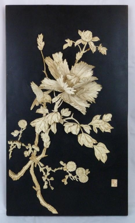 1: CHINESE IVORY CARVED FLOWER ON PLAQUE SIGNED