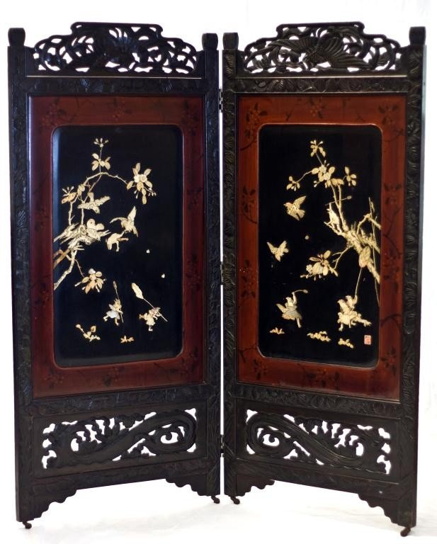 2: CHINESE HAND CARVED IVORY 2 PANEL SCREEN