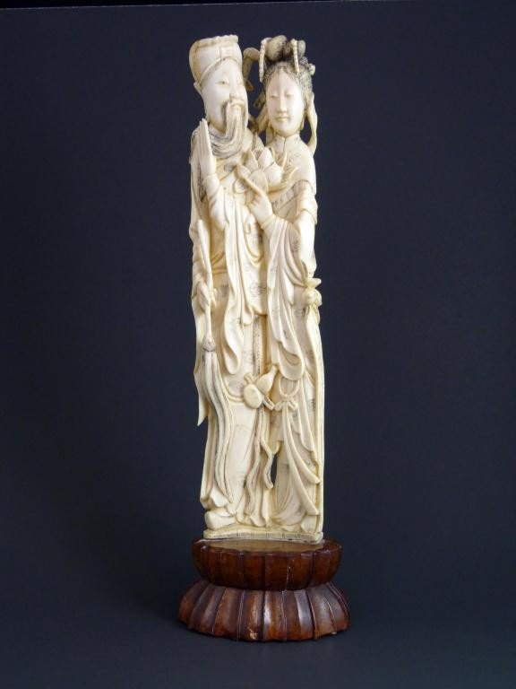 4: CHINESE IVORY HAND CARVED MAN & WOMAN FIGURE