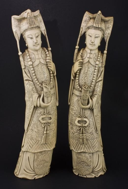 5: PAIR OF LARGE CHINESE HAND CARVED TUSKS OF MAIDENS