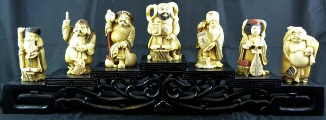 6: POLYCHROME IVORY SET OF SEVEN IMMORTALS ON STAND