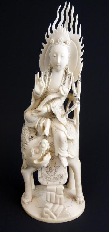 8: CHINESE IVORY HAND CARVED QUAN YEN ON FOO DOG
