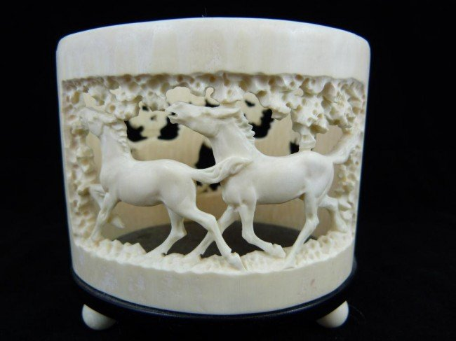 10: CONTINENTAL IVORY HAND CARVED HORSE BRUSH POT