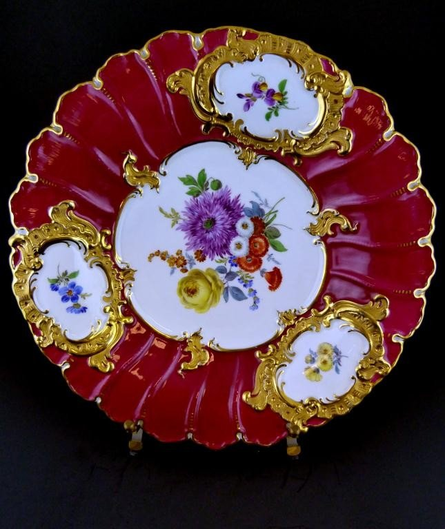 13: MEISSEN GERMANY HAND PAINTED FLORAL CHARGER