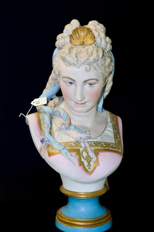 22: 18th CENTURY SEVRES PORCELAIN BUST OF WOMAN