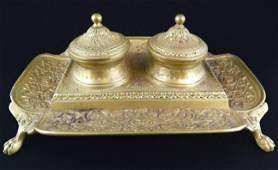 24: FRENCH BRASS FLORAL SCROLL DESIGN INKWELL