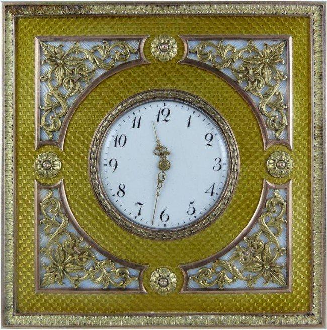 Imperial russian gold enamel desk clock faberge 66 imperial russian gold enamel desk clock faberge amipublicfo Images
