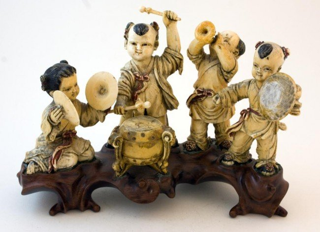 294: ORIENTAL IVORY FIGURES OF CHILDREN PLAYING MUSIC