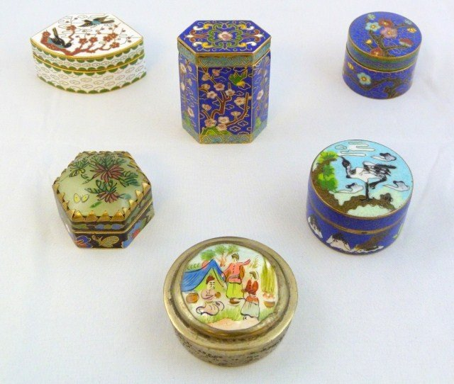 6 ORIENTAL CLOISONNE COVERED BOXES